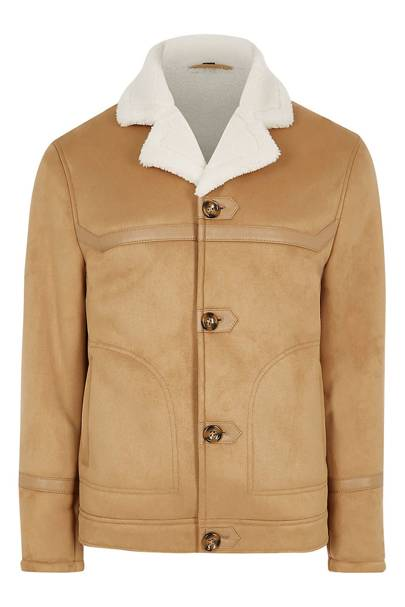 Brown suede shearling jacket by River Island