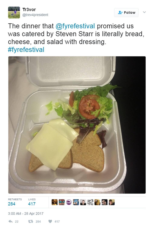 Image result for fyre festival food