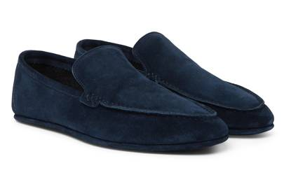 Cashmere-Lined Suede Slippers by Loro Piana