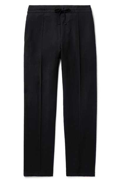 Navy wool-twill drawstring trousers by Dunhill
