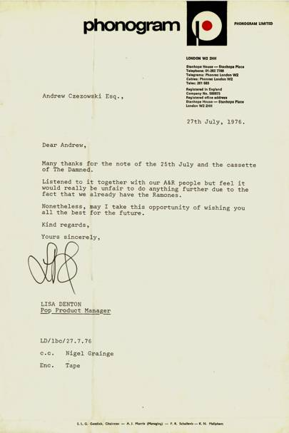 Rejection letter of The Damned