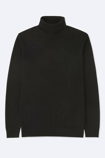 8. A black merino wool roll neck