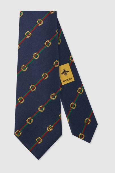 Silk equestrian tie by Gucci