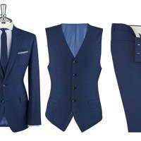 T. M. Lewin Islington Plain Blue 3 Piece Slim Fit Suit