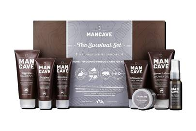 Age Defence Face Serum, Essentials Wash Bag and The Survival Set by ManCave