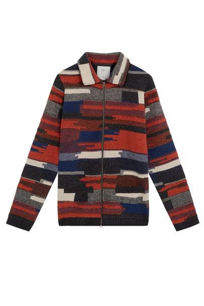 Percival blanket weave zip-up jumper