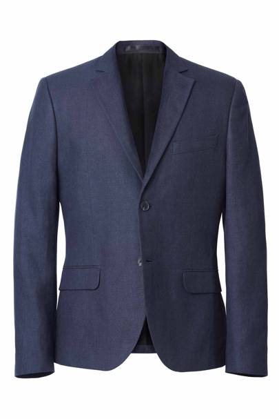 David Beckham H&M Modern Essentials blue suit jacket