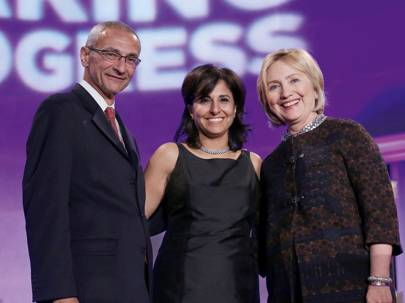 Hillary with her inner circle, Center For American Progress co-founder John Podesta, and the Center's president Neera Tanden, 24 October 2015
