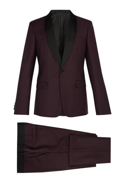Contrast-panel single-breasted mohair-blend suit by Prada