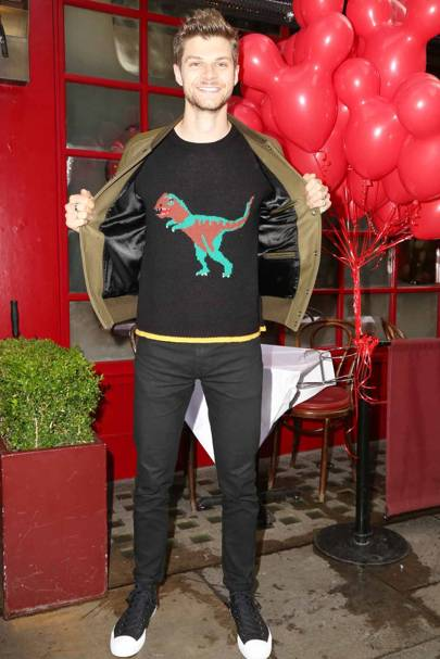 Jim Chapman wearing the Coach 'Rexy' jumper in London