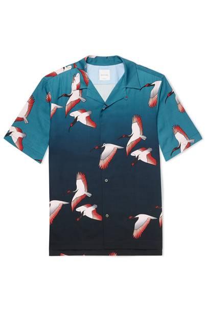 4.) Paul Smith camp-collar printed tencel and linen-blend shirt