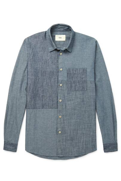 Patchwork cotton and linen-blend chambray shirt by Folk