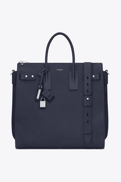 Sac de Jour large in navy blue grained leather by Saint Laurent