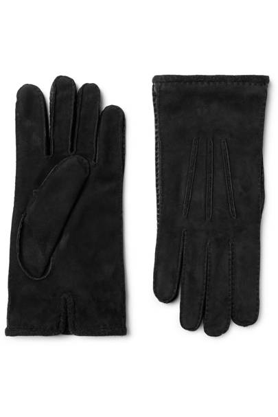 Damon baby cashmere-lined suede gloves by Loro Piana