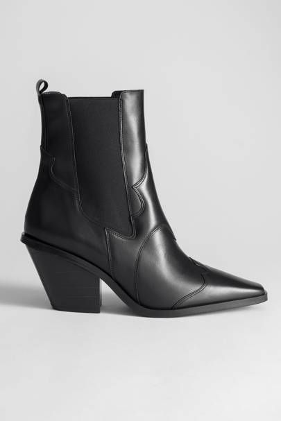 & Other Stories square toe leather cowboy boots