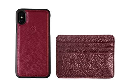 Purple litchi Leather iPhone X Case and card holder by BAK London