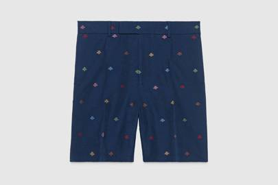 Cotton natté bees shorts by Gucci