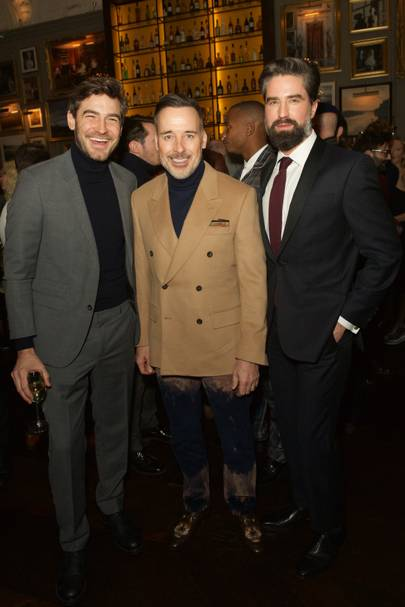 Robert Konjic, David Furnish and Jack Guinness