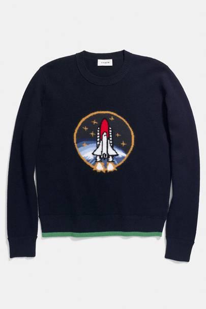 Coach shuttle intarsia sweater