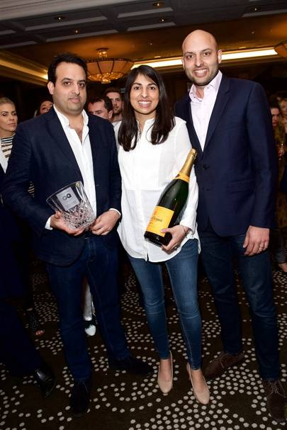 Karam Sethi, Sunaina Sethi, and Jyotin Sethi, winners of the Best Restaurateur award