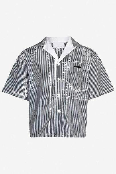 3.) Prada striped cotton bowling shirt