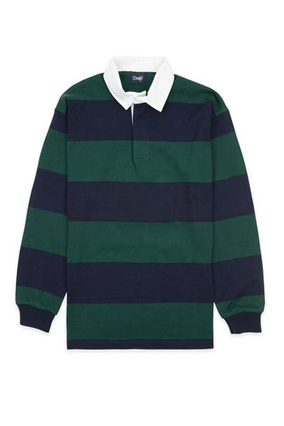 Navy and green striped rugby shirt by Drake's