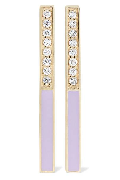Alison Lou linear 14-karat gold, diamond and enamel earrings