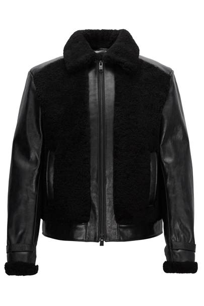 Leather jacket with shearling and quilting by Boss