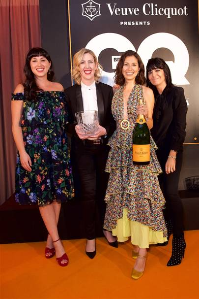 Melissa Hemsley, Clare Smyth, winner of the Best Restaurant Core by Clare Smyth, Jasmine Hemsley and the host of the GQ Food and Drink Awards 2018, Claudia Winkleman
