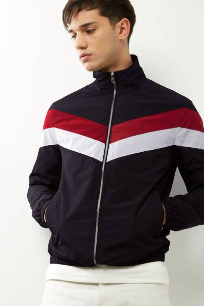 New Look chevron-stripe funnel-neck jacket
