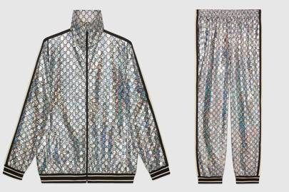 Laminated sparkling GG jersey tracksuit by Gucci