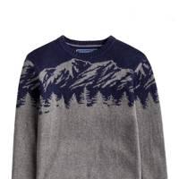 Joules Grey Marl Treetop Festive Knit Jumper