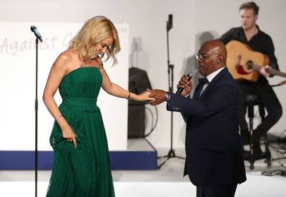 Kylie Minogue and Samuel L Jackson on stage