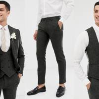Super Skinny Suit in Charcoal Donegal Tweed by Twisted Tailor