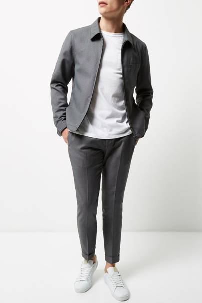 River Island grey textured suit