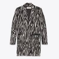 Zebra Jacquard Hairy Coat by YSL