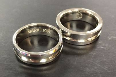 Rings made with guitar strings provided by the rock band, Marillion