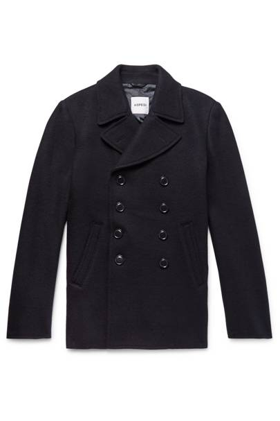 Double-breasted boiled wool pea coat by Aspesi