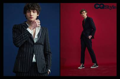 b4786f36c Evan wears black striped suit and white silk shirt all by Alexander McQueen  Franco wears pinstripe suit by Gieves and Hawkes  red v neck jumper by  Massimo ...