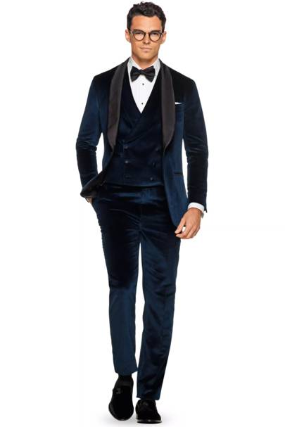 Blue velvet tuxedo by Suitsupply