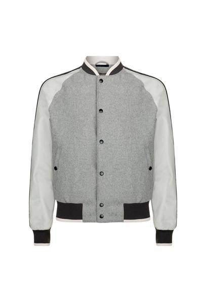 Lanvin leather sleeve varsity jacket