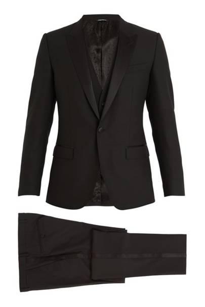 Three-piece peak-lapel wool-blend tuxedo by Dolce & Gabbana