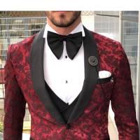 Fisnik Claret Red Slim Fit Tuxedo by GentWith