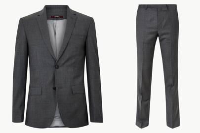 Slim Fit Wool Suit by Marks and Spencer