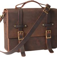 Handmade Leather Briefcase Messenger Bag by Artisanal Lab
