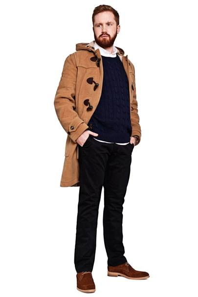 Jumper by Polo Ralph Lauren, £115. Duffle coat by Burberry, £895. Chinos by Baldwin, £45. Shirt by Officine Generale, £150. Suede boots by Oliver Sweeney, £329