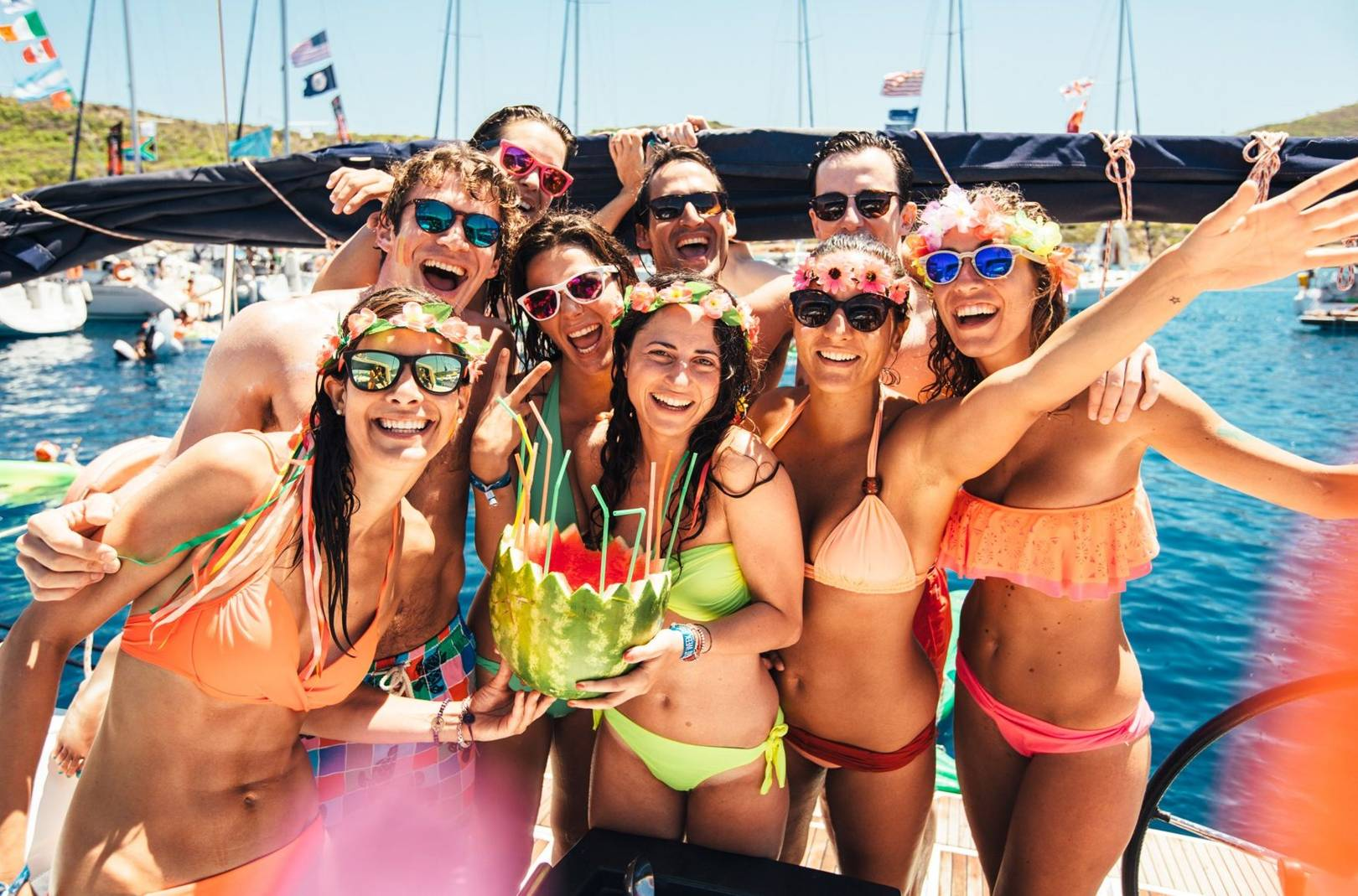 Hot babes party hard on boat during spring break