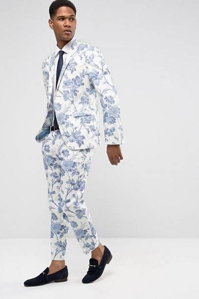 ASOS slim floral wedding suit
