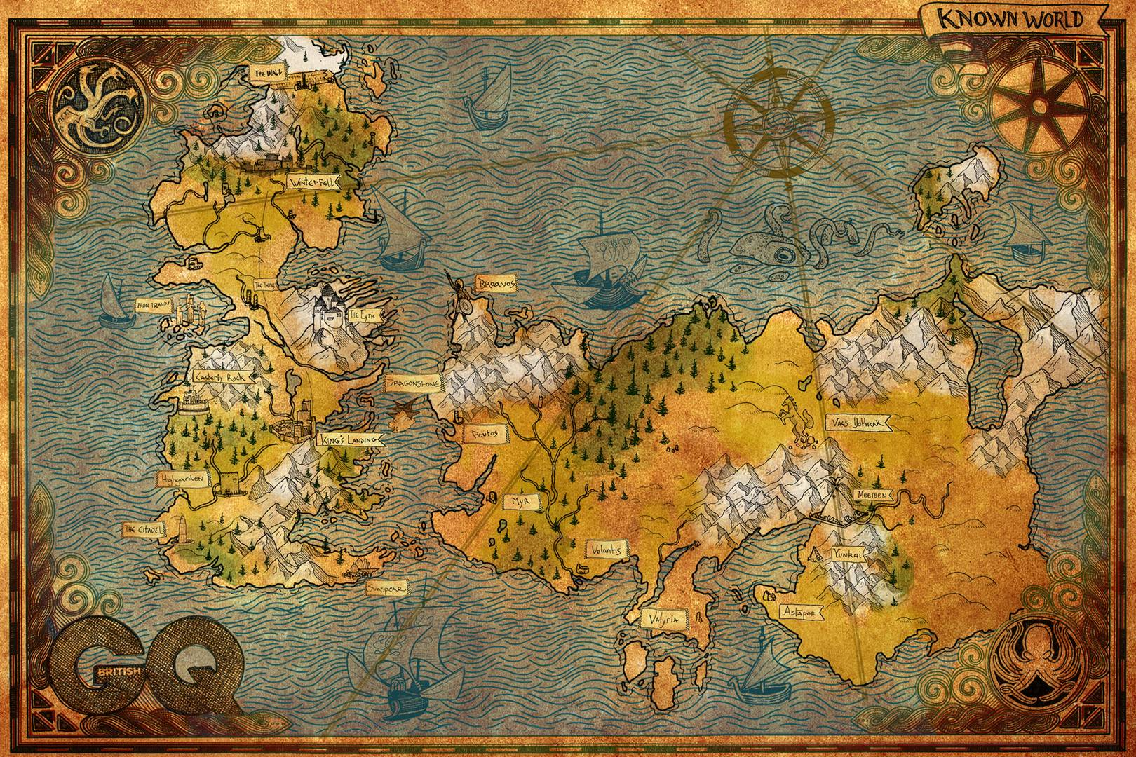 Game Of Thrones Map See The Known World Westeros The Wall And