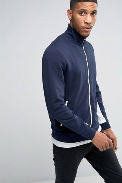 A zip-up track top